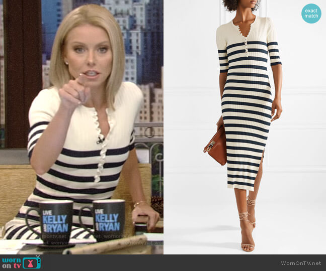 Sunday Striped Ribbed Stretch-Knit Midi Dress by Altuzarra worn by Kelly Ripa  on Live with Kelly & Ryan