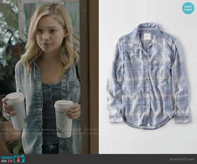 American Eagle Washed Plaid Boyfriend Shirt worn by Tandy Bowen (Olivia Holt) on Cloak & Dagger
