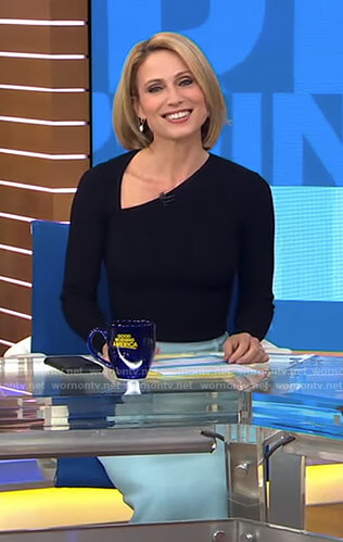 Amy's black asymmetric v-neck top and skirt on Good Morning America