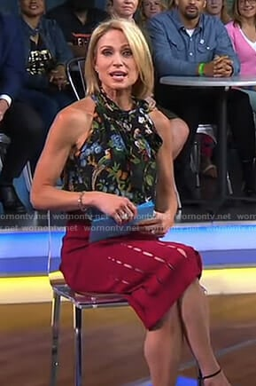 Amy's black floral and bird print top and red cutout skirt on Good Morning America