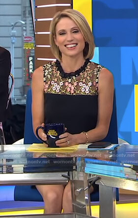 Amy's black floral embroidered dress on Good Morning America