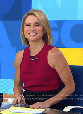 Amy's red barbell top on Good Morning America