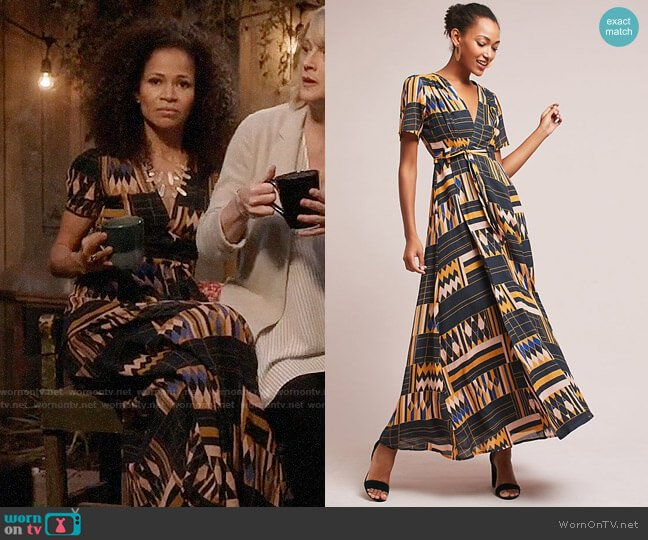 Anthropologie The Odells Macie Wrap Maxi Dress worn by Lena Adams Foster (Sherri Saum) on The Fosters