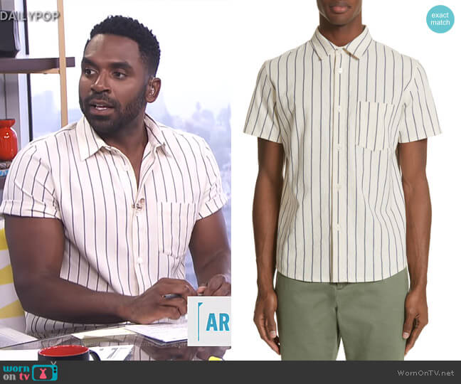 Bryan Stripe Woven Shirt by APC worn by Justin Sylvester  on E! News
