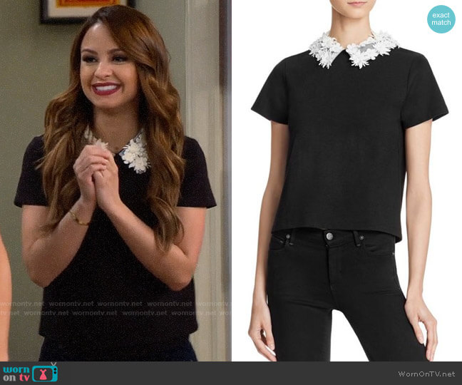 Aqua Floral Collar Top worn by Aimee Carrero on Young & Hungry
