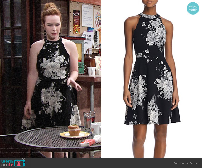 Aqua Scalloped Floral Print Dress worn by Mariah Copeland (Camryn Grimes) on The Young & the Restless