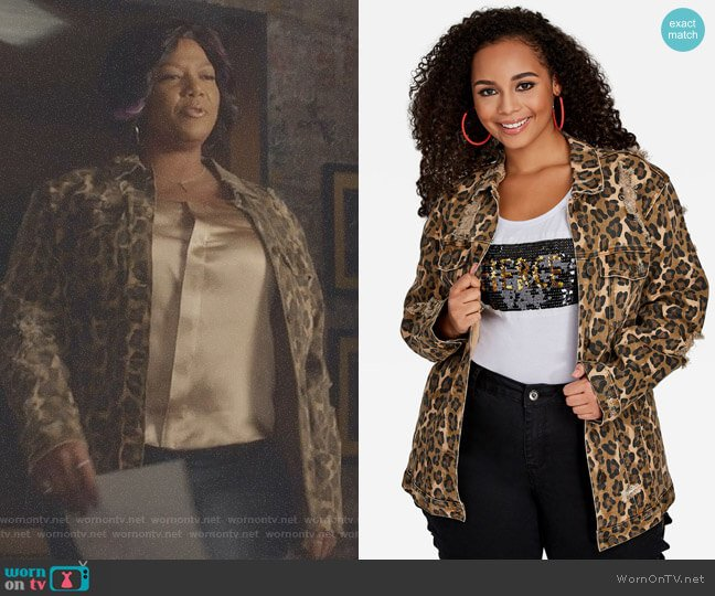 Leopard Print Denim Jacket by Ashley Stewart worn by Queen Latifah on Star
