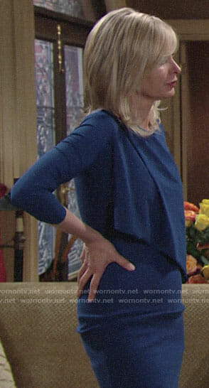 Ashley's blue front overlay dress on The Young and the Restless
