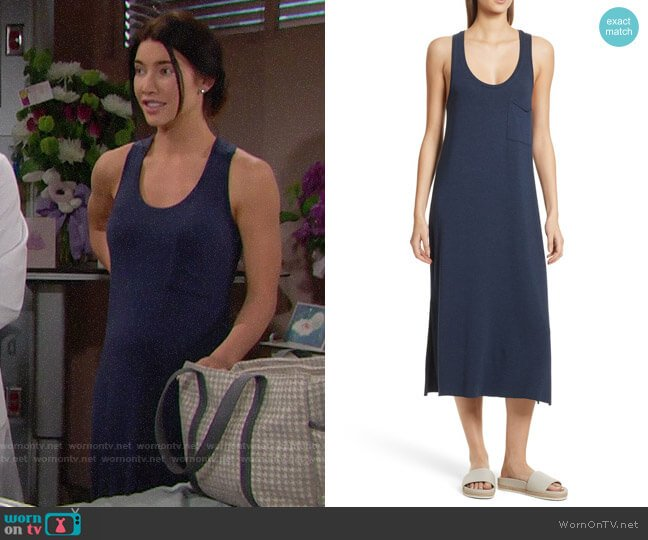 ATM Anthony Thomas Melillo Pocket Midi Dress worn by Steffy Forrester (Jacqueline MacInnes Wood) on The Bold & the Beautiful