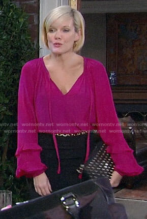 Ava's pink ruffled tie-neck blouse on General Hospital