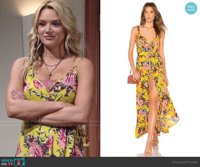 Band of Gypsies Chrysanthemum Wrap Front Dress worn by Summer Newman (Hunter King) on The Young & the Restless