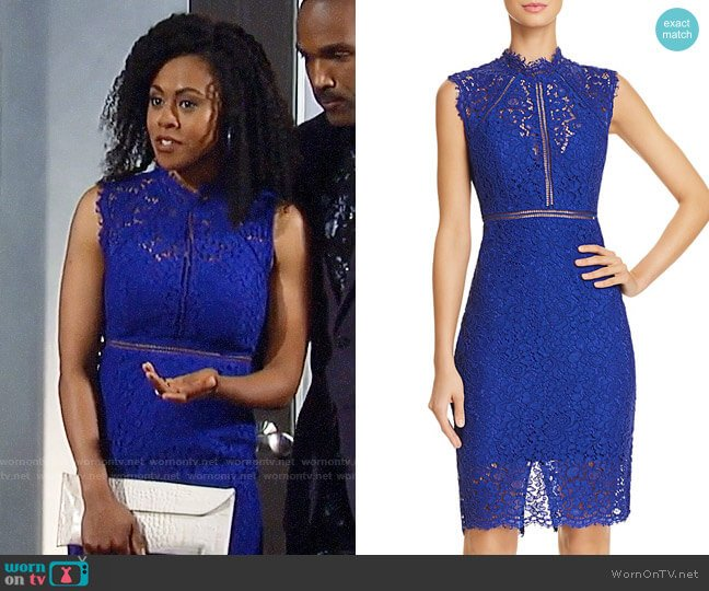 Bardot Lace Sheath Dress worn by Briana Nicole Henry on General Hospital