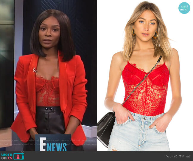 Britney Bodysuit by Bardot worn by Zuri Hall (Zuri Hall) on E! News