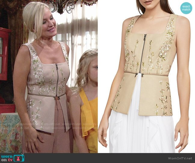 Bcbgmaxazria Embroidered Faux Leather Peplum Top worn by Sharon Case on The Young & the Restless