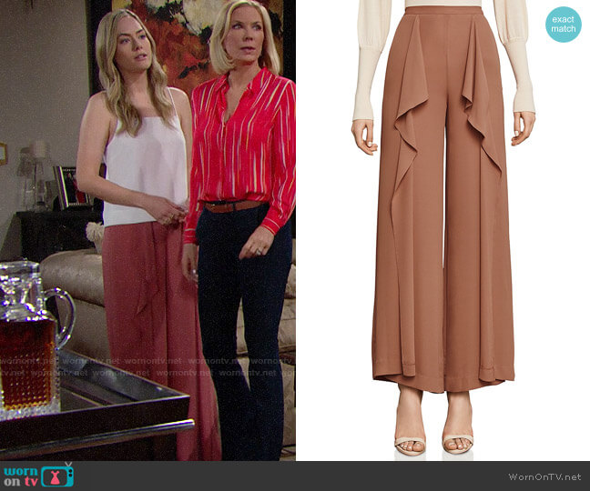 Bcbgmaxazria Jackee Ruffled Pants worn by Annika Noelle on The Bold & the Beautiful