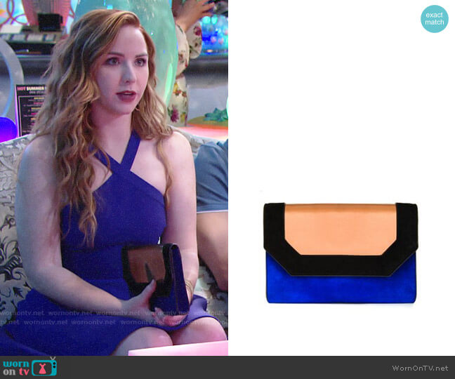 Bcbgmaxazria Piper Metallic Clutch worn by Mariah Copeland (Camryn Grimes) on The Young & the Restless