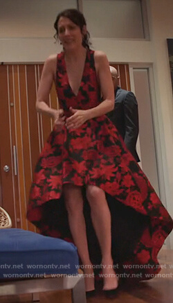 Abby's floral print high-low gown on Girlfriends Guide to Divorce