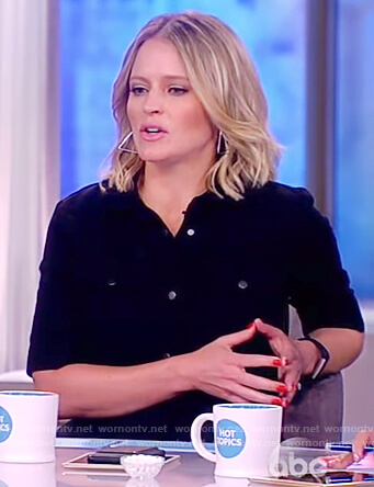 Sara's black button front jumpsuit on The View