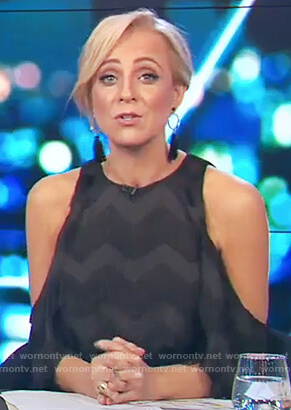 Carrie's black cold shoulder fringe dress on The Project