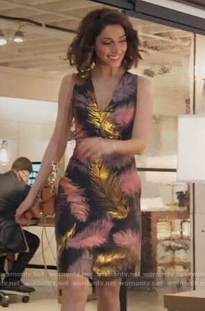Delia's black feather print dress on Girlfriends Guide to Divorce