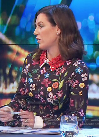 Gorgi's black floral print shirtdress with embellished collar on The Project
