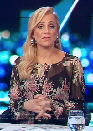 Carrie's black floral sheer blouse on The Project
