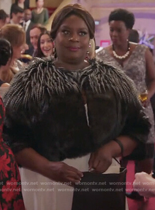 Barbara's black faux fur jacket on Girlfriends Guide to Divorce