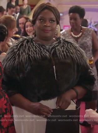 Barbara's black faux fur jacket on Girlfriends Guide to Divorce