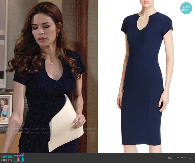 Black Halo Gypsy Rose Sheath worn by Amelia Heinle on The Young & the Restless