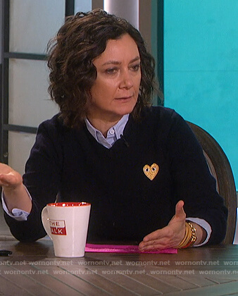 Sara's black embroidered heart sweater on The Talk
