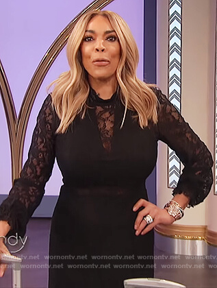 Wendy's black lace mini dress on The Wendy Williams Show