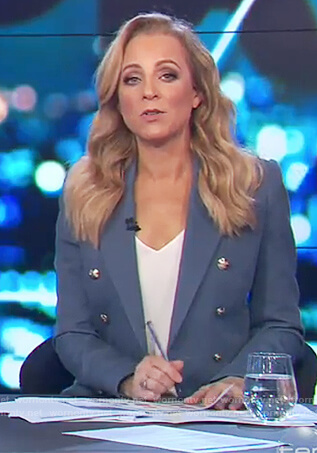 Carrie's blue double breasted blazer on The Project