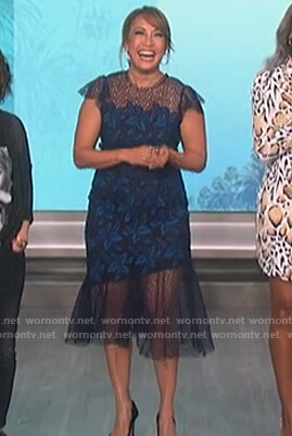 Carrie Inaba's blue floral lace dress on The Talk