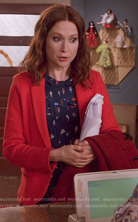 Kimmy's blue ice cream print blouse on Unbreakable Kimmy Schmidt
