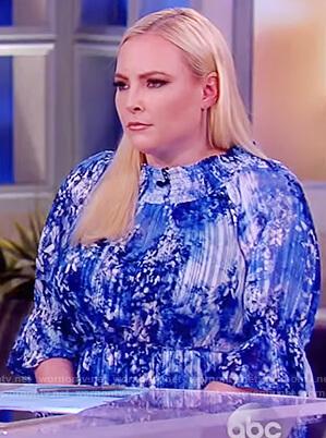 Meghan's blue print tie waist dress on The View