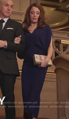 Jo's navy slit sleeve maxi dress on Girlfriends Guide to Divorce