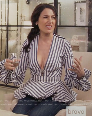 Abby's blue striped peplum blouse on Girlfriends Guide to Divorce