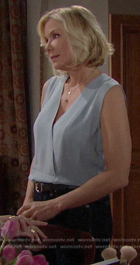 Brooke's light blue sleeveless top on The Bold and the Beautiful