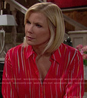 Brooke's red printed blouse on The Bold and the Beautiful