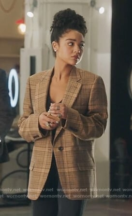 Kat's brown check blazer on The Bold Type