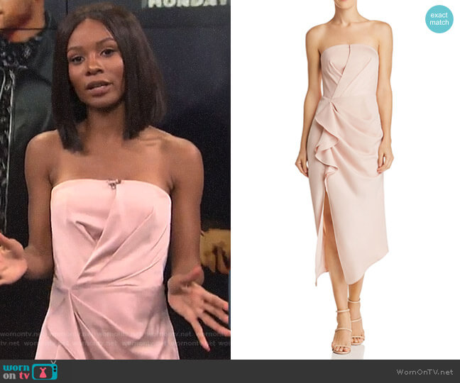 No Less Strapless Midi Dress by C/MEO Collective worn by Zuri Hall on E! News