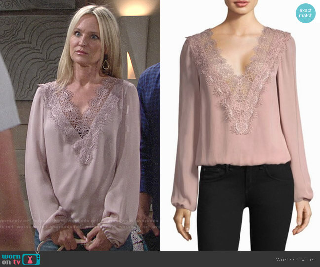 Cami NYC Allanha Blouse worn by Sharon Collins (Sharon Case) on The Young & the Restless