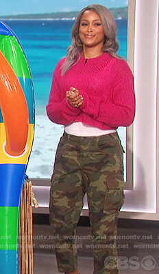 Eve's camo print cargo pants on The Talk