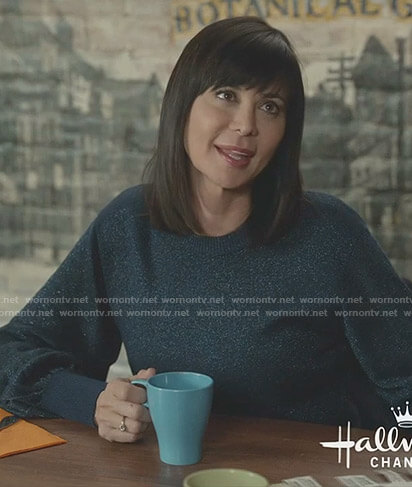 Cassie's blue lurex sweater on Good Witch