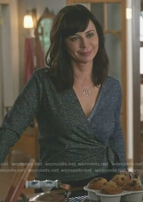 Cassie's lurex wrap top on Good Witch