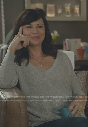 Cassie's v-neck lurex sweater on Good Witch