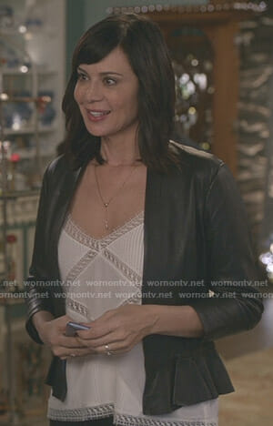 Cassie's white lace trim camisole on Good Witch
