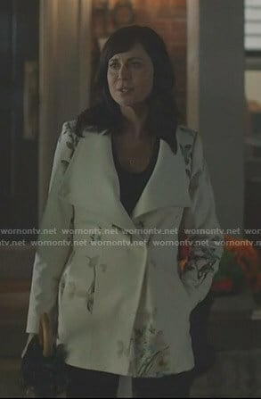Cassie's white floral coat on Good Witch