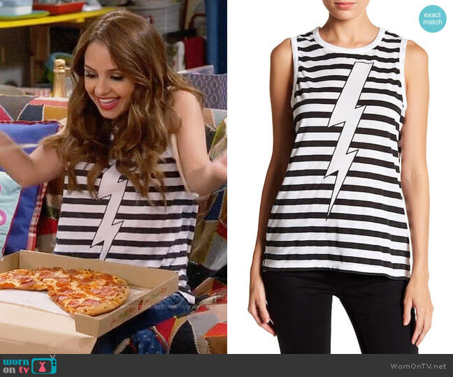 Chaser Stripe Lightning Bolt Tank worn by Sofia Rodriguez (Aimee Carrero) on Young & Hungry