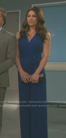 Chloe's blue wrap jumpsuit on Days of our Lives